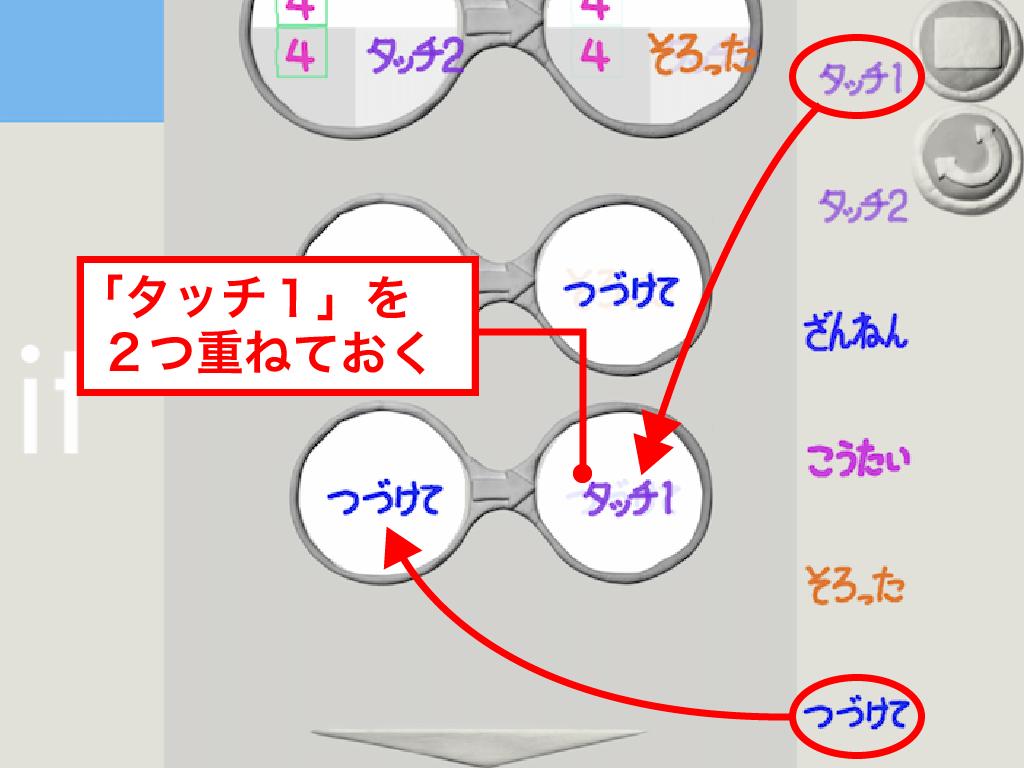 つづけて⇒タッチ1[x2]